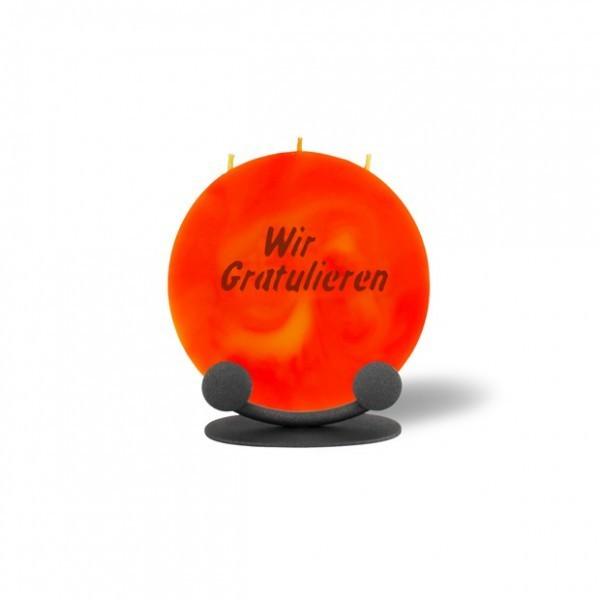 Mond Kerze mini 743 Halterung 14 cm Ø - Wir Gratulieren - orange/gelb - dunkle Schrift