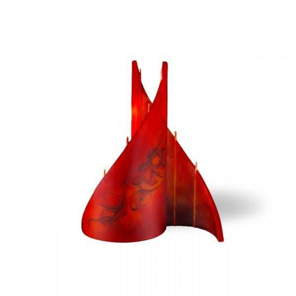 Segel Kerze klein 4 Dochte - rot/braun/orange