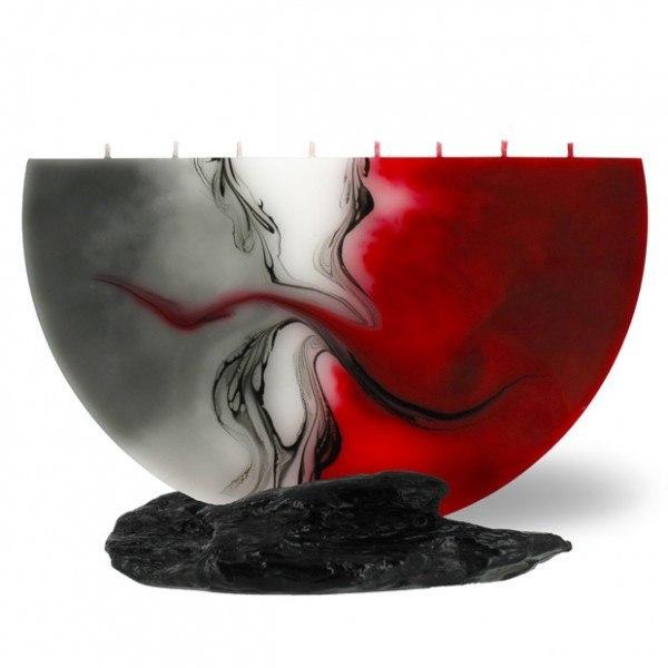 Halbmond Kerze groß 8 Dochte - rot/grau/weiß