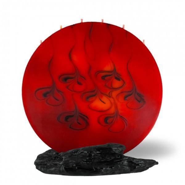 Vollmond Kerze 6 Dochte - rot/braun/orange