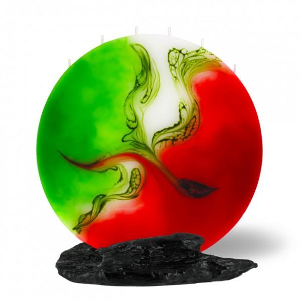 Mond Kerze 605 - rot/weiß/grün