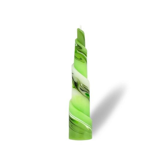 Rulo Kerze -M- 1 Docht -  hellgrün mit grau untergemischt