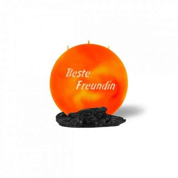 Mond Kerze mini 764 - 14 cm Ø - Beste Freundin - orange/gelb