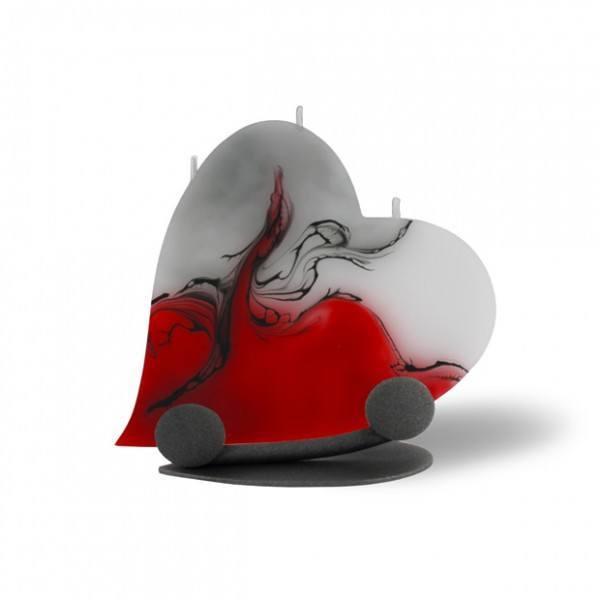 Herz Kerze mit Halterung und 3 Dochten -  rot/grau/weiß