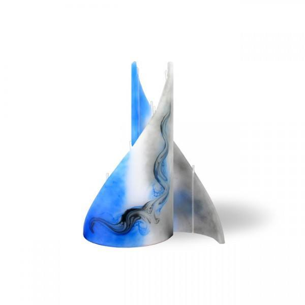 Segel Kerze 610 - klein - grau/blau/weiß