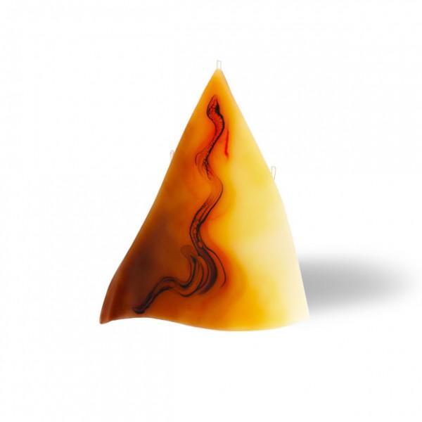 Triangel Kerze 3 Dochte -  cappuccino/hellorange/braun/creme
