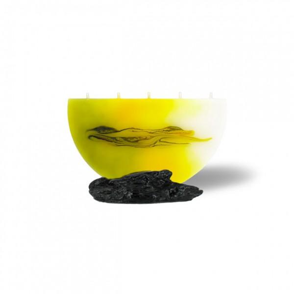 Halbmond Kerze mini 5 Dochte -  hellgelb mit grau untergemischt