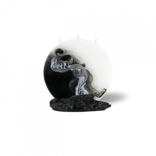 Mond Kerze mini 3 Dochte -  weiß/schwarz