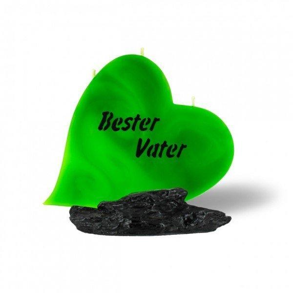 Herz Kerze 716 - Bester Vater - grün - schwarze Schrift