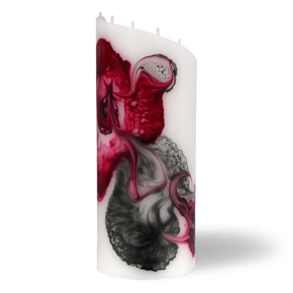 Zylinder Kerze groß 8 Dochte -  rosa/aubergine/grau/weiß