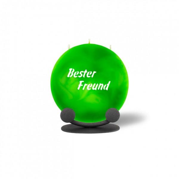 Mond Kerze mini 768 Halterung 14 cm Ø - Bester Freund - grün