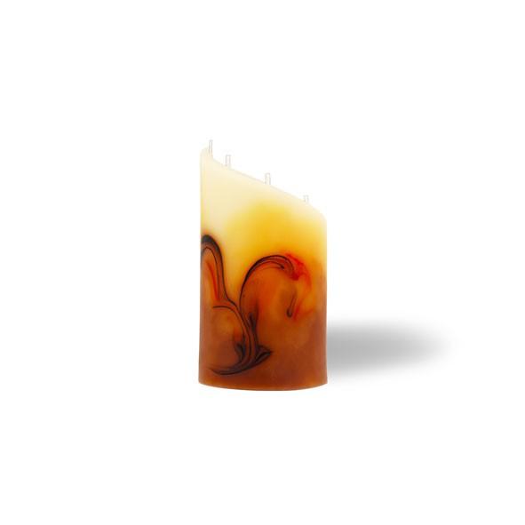 Zylinder Kerze mini 5 Dochte -  cappuccino/hellorange/braun/creme