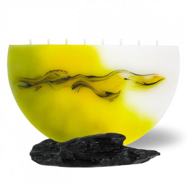 Halbmond Kerze groß 8 Dochte -  hellgelb mit grau untergemischt