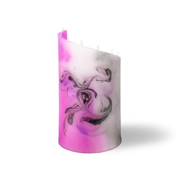 Zylinder Kerze klein 8 Dochte -  pink/grau/weiß