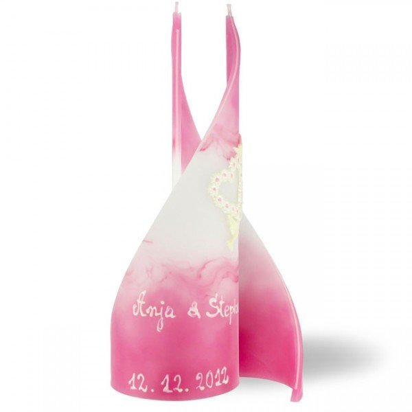 Segel Kerze 782 groß mit Namen + Datum + Wachsdekor - rosa/weiß