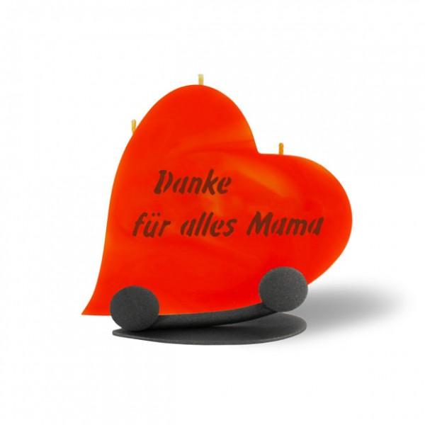 Herz Kerze 789 Halterung - Danke für alles Mama - orange-braun -