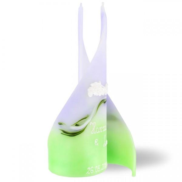 Hochzeitskerze in grün-lila