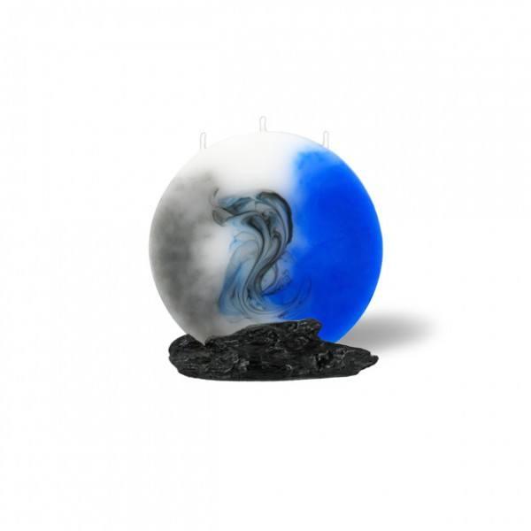 Mond Kerze mini 610 - grau/blau/weiß