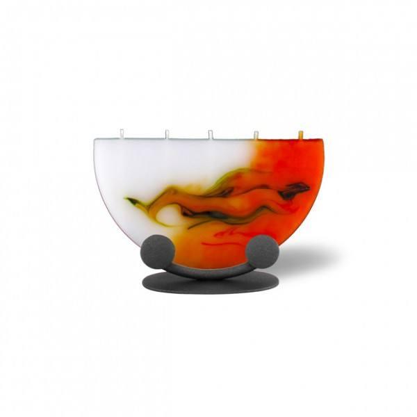Halbmond Kerze mini 5 Dochte mit Halterung - orange/olive/weiß