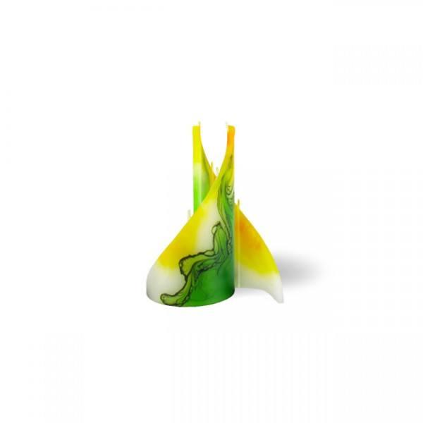Segel Kerze 606 - mini - gelb/grün/weiß
