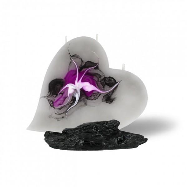 Herz Kerze mit 3 Dochten -  grau/pink/weiß/schwarz
