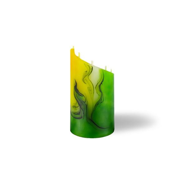 Zylinder Kerze mini 5 Dochte -  gelb/grün/weiß