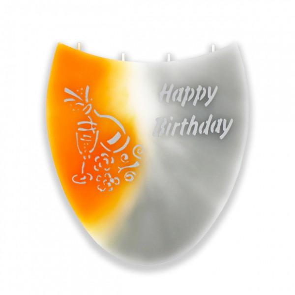 Amphore Kerze 738 ohne Halterung - Happy Birthday - orange/weiß/grau -