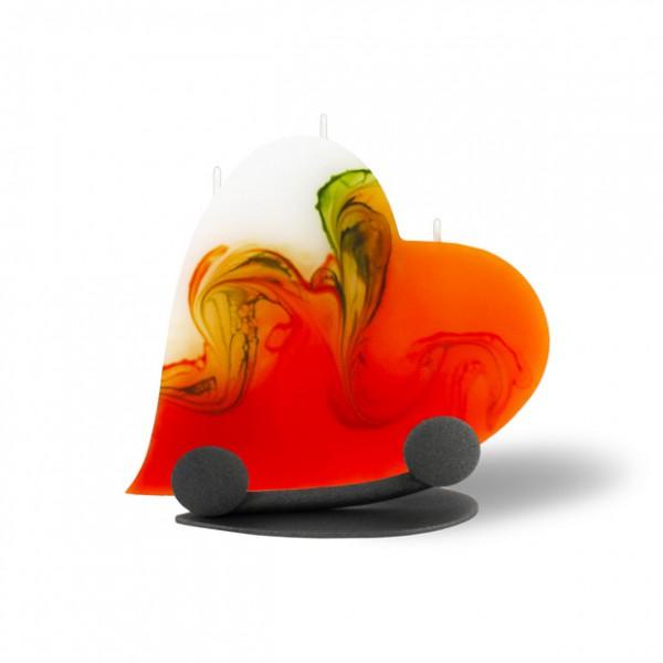 Herz Kerze 214 Halterung - orange/olive/weiß