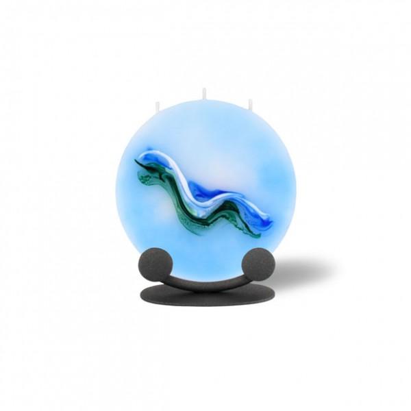 Mond Kerze mini mit Halterung - hellblau/grün