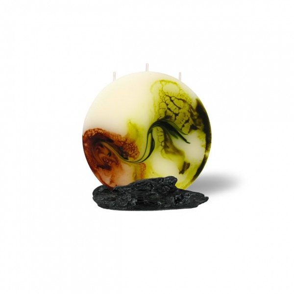 Mond Kerze mini 3 Dochte -  retrogrün/olivegrün/cappuccino/creme