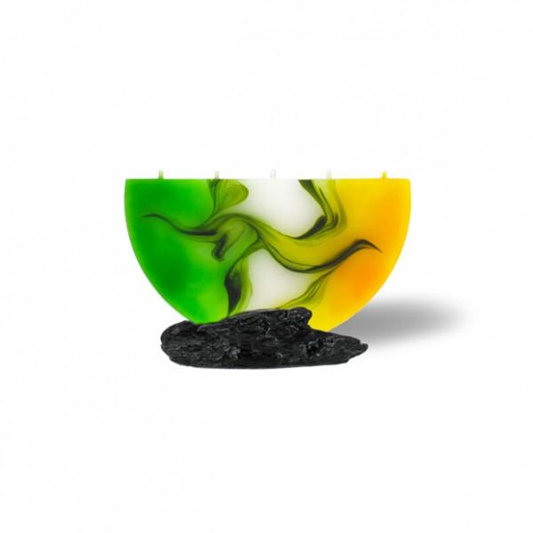 Halbmond Kerze mini 5 Dochte -  gelb/grün/weiß
