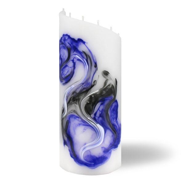 Zylinder Kerze groß 8 Dochte -  lila/weiß/grau