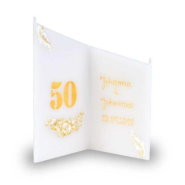 Wunsch Kerze 855 - mit 2 Ziffern - beschriftet mit Namen und Datum - creme-