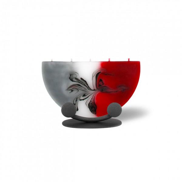 Halbmond Kerze mini 5 Dochte mit Halterung - rot/grau/weiß
