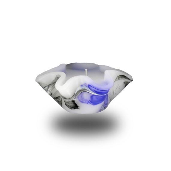 Flower Kerze -S- mit einem Docht -  lila/weiß/grau