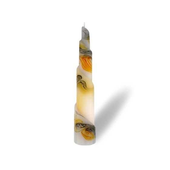 Rulo Kerze -M- 1 Docht - orange/grau/weiß