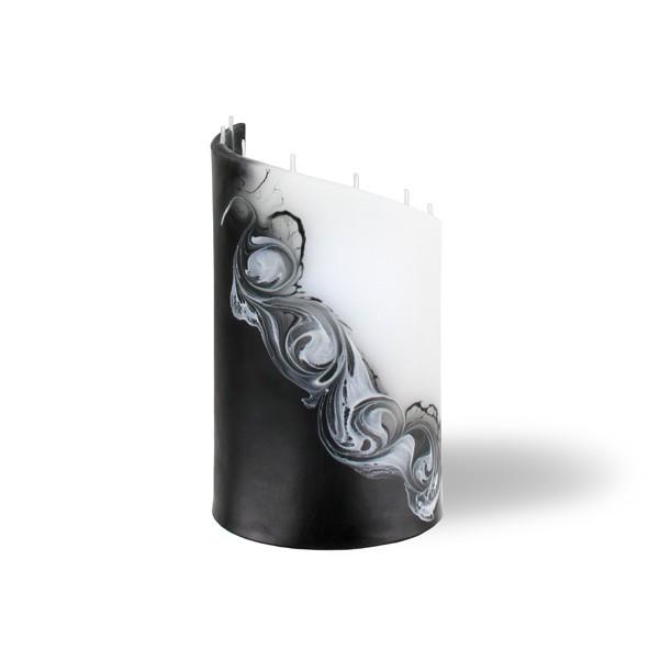 Zylinder Kerze klein 8 Dochte -  weiß/schwarz