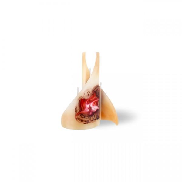 Segel Kerze - mini - cappuccino/rot/braun/weiß