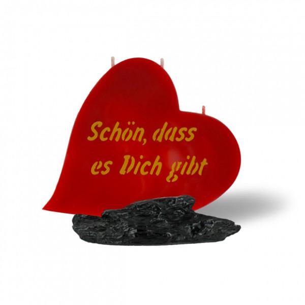 Herz Kerze 766 - Schön dass es dich gibt - rot - goldene Schrift