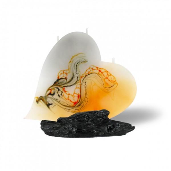 Herz Kerze 217 - orange/grau/weiß