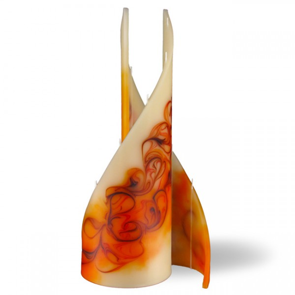 Segel Kerze groß 5 Dochte - rot/braun/creme/orange