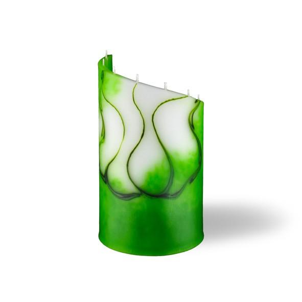 Zylinder Kerze klein 8 Dochte -  grün/weiß