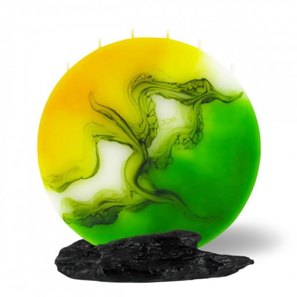 Vollmond Kerze 6 Dochte -  gelb/grün/weiß