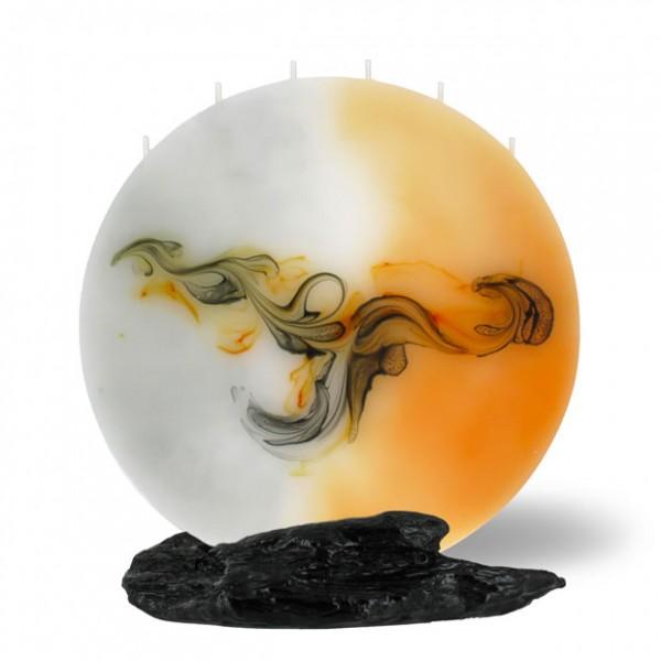 Mond Kerze 217 - orange/grau/weiß
