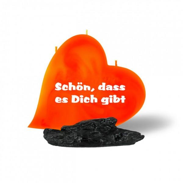 Beschriftete Herz Kerze in orange