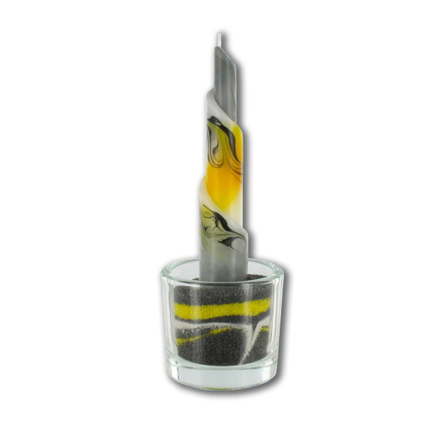 Rulo Deko Set mit Glas und Sand - gelb/weiß/grau