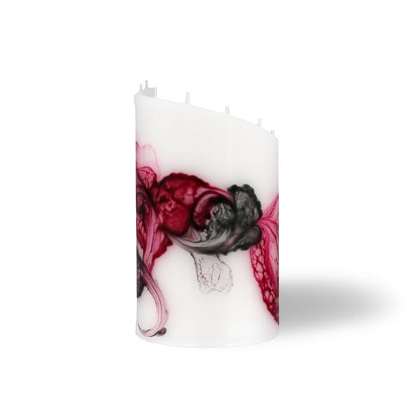 Zylinder Kerze klein 8 Dochte -  rosa/aubergine/grau/weiß