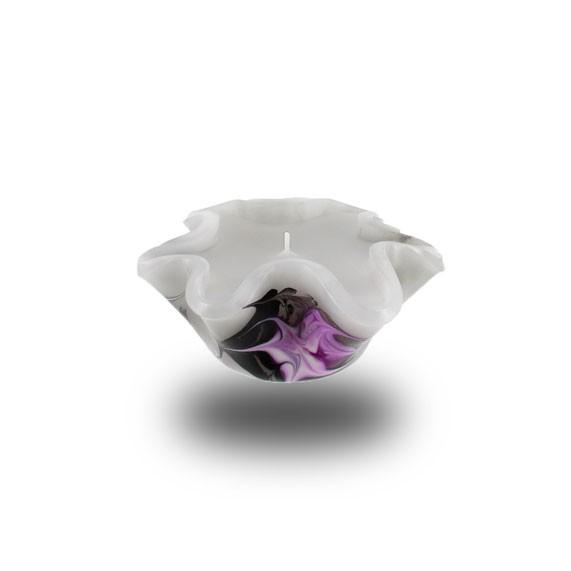 Flower Kerze -S- mit einem Docht - grau/pink/weiß/schwarz