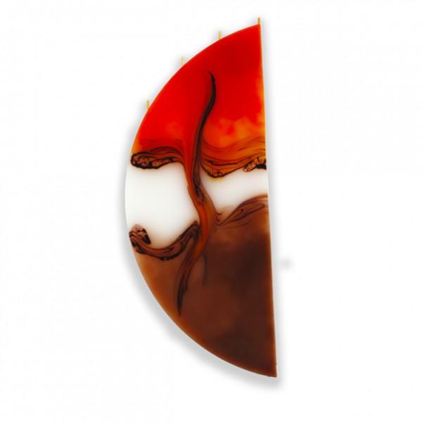 Viertelmond Kerze 604 ohne Halterung - orange/weiß/cappuccino
