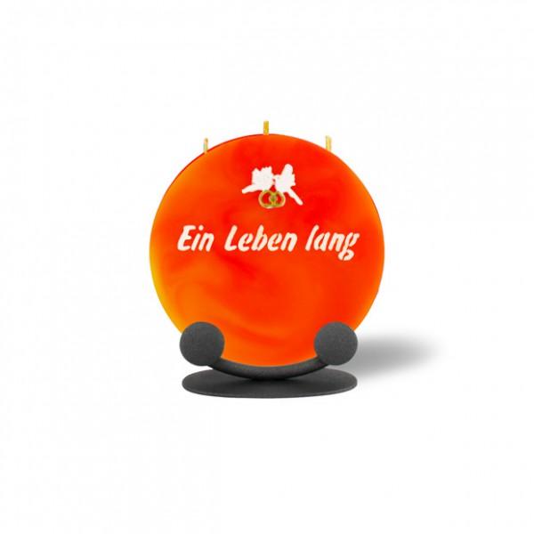 Mond Kerze mini 757 Halterung 14 cm Ø - Ein Leben lang - orange/gelb -